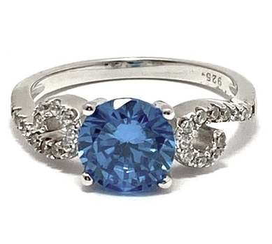 Solid .925 Sterling Silver, 3.0ctw Blue Topaz & 0.25ctw White Diamonique Ring Size 8