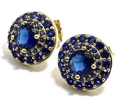 Solid .925 Sterling Silver, 3.0ctw Sapphire Earrings