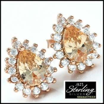 Solid .925 Sterling Silver 3.10ctw Light Champagne Color & White Sapphire Earrings