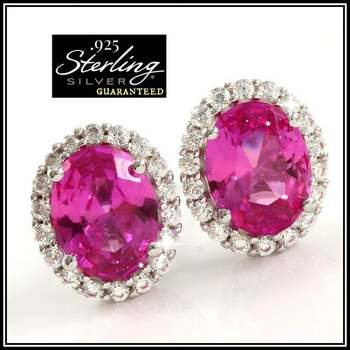 Solid .925 Sterling Silver 3.10ctw Pink Corundum & White Sapphire Earrings