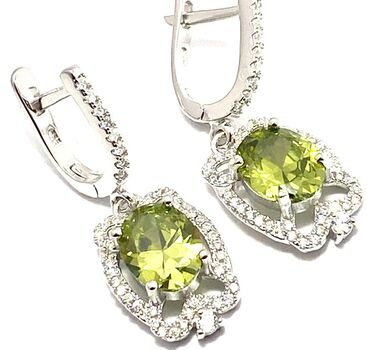 Solid .925 Sterling Silver, 3.10ctw White Sapphire & Peridot Earrings