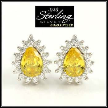 Solid .925 Sterling Silver 3.10ctw Yellow & White Sapphire Earrings