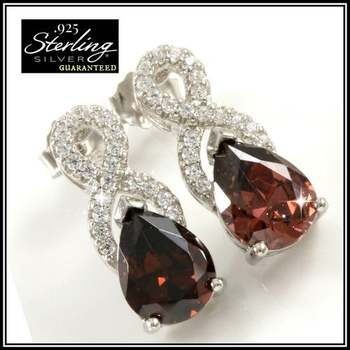 Solid .925 Sterling Silver 3.15ctw Rhodolite and White Sapphire Earrings