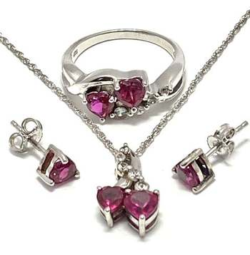 Solid .925 Sterling Silver, 3.20ctw Ruby & White Topaz Set of Necklace&Earrings&Ring