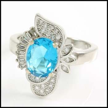 Solid .925 Sterling Silver, 3.25ctw Blue Topaz & AAA Grade CZ's Ring Size 7