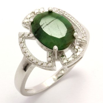 Solid .925 Sterling Silver, 3.45ctw Genuine Dyed Emerald Ring sz 7