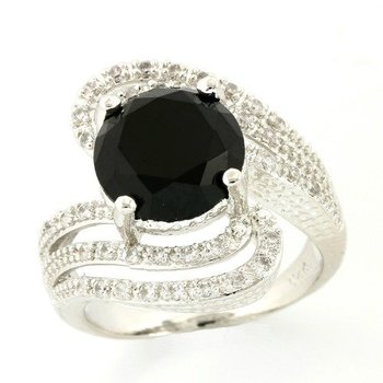 Solid .925 Sterling Silver, 3.48ctw Black & White Sapphire Ring sz 8