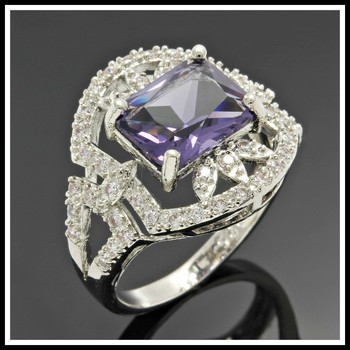 Solid .925 Sterling Silver, 3.50ctw Amethyst & White Sapphire Ring Size 6