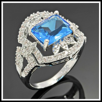 Solid .925 Sterling Silver, 3.50ctw Blue Topaz & White Sapphire Ring Size 8