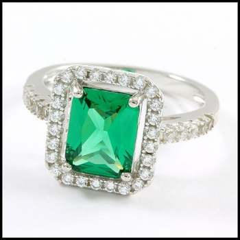 Solid .925 Sterling Silver, 3.50ctw Emerald & White Sapphire Ring Size 7.25