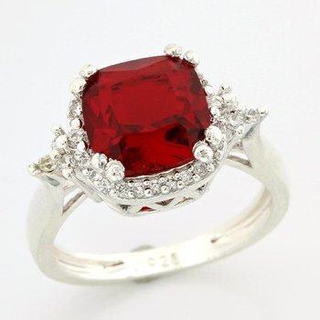 Solid .925 Sterling Silver, 3.50ctw Red Corundum & White Sapphire Ring sz 7