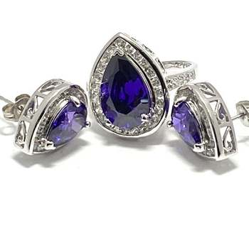 Solid .925 Sterling Silver, 3.60ctw Amethyst & White Topaz Set of Earrings&Ring