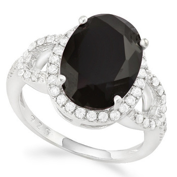 Solid .925 Sterling Silver, 3.65ctw Black & White Sapphire Ring size 6