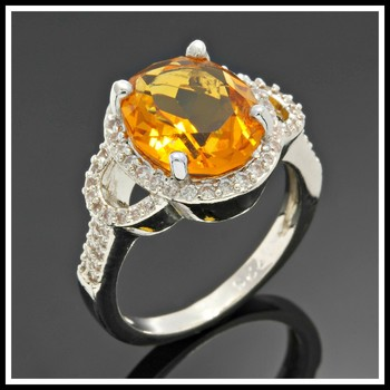 Solid .925 Sterling Silver 3.65ctw Citrine & White Sapphire Ring Size 8