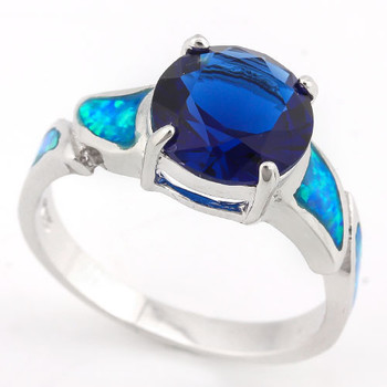 Solid .925 Sterling Silver, 3.70ctw Sapphire & Lab Opal Fancy Cocktail Ring sz 8