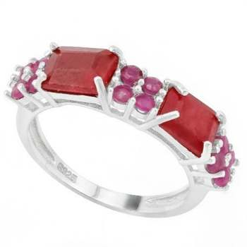 Solid .925 Sterling Silver 3.72ctw Genuine Dyed Ruby Ring Sz 7