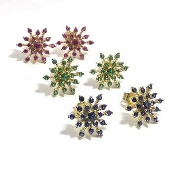 Solid .925 Sterling Silver, 3.75ctw Ruby & Sapphire & Emerald Lot of 3 Pair of Earrings