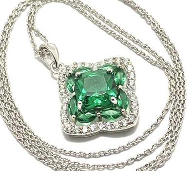 Solid .925 Sterling Silver, 4.0ctw Emerald & 0.35ctw White Diamonique Necklace