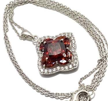 Solid .925 Sterling Silver, 4.0ctw Garnet & 0.35ctw White Diamonique Necklace