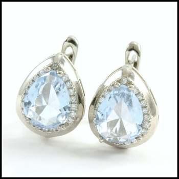Solid .925 Sterling Silver, 4.0ctw Genuine Sky Blue Topaz & White Sapphire Earrings
