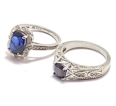 Solid .925 Sterling Silver, 4.0ctw Sapphire & 0.50ctw Amethyst & 0.10ctw White Diamonique Lot of 2 Rings Size 7