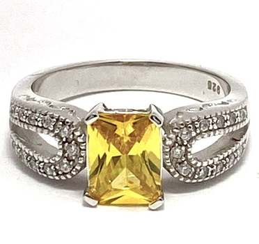 Solid .925 Sterling Silver, 4.25ctw Golden Topaz & 0.25ctw White Diamonique Ring Size 7