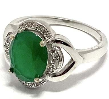 Solid .925 Sterling Silver, 4.30ctw Emerald & White Sapphire Ring Size 7