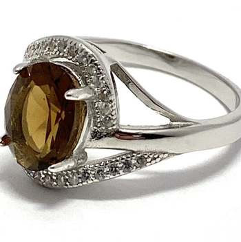 Solid .925 Sterling Silver, 4.30ctw Smoky Quartz & White Topaz Ring Size 7