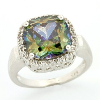Solid .925 Sterling Silver, 4.68ctw Green Mystic & White Topaz Ring sz 7