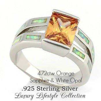 Solid .925 Sterling Silver, 4.72ctw Orange Sapphire & Opal Enamel Ring sz 8