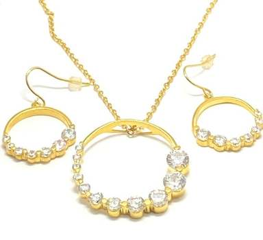 Solid .925 Sterling Silver, 4.75ctw White Topaz Set of Earrings&Necklace