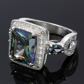 Solid .925 Sterling Silver, 4.95ctw Mystic Topaz & White Sapphire Ring sz 7.5