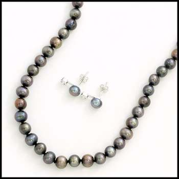 Solid .925 Sterling Silver, 5 - 8mm Genuine Fresh Water Pearl & 0.1ctw AAA Grade CZ's Set of Necklace & Earrings