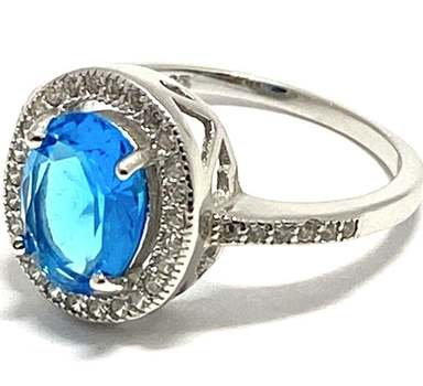 Solid .925 Sterling Silver, 5.13ctw Blue & White Topaz Ring Size 7.5