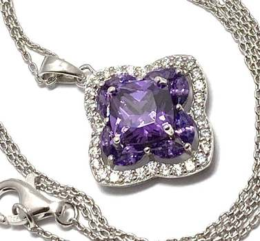 Solid .925 Sterling Silver, 5.25ctw Amethyst & 0.35ctw White Diamonique Necklace
