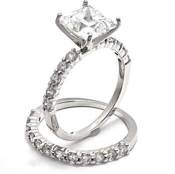 Solid .925 Sterling Silver, 5.75ctw White Diamonique Bridal Engagement Ring Set Size 5