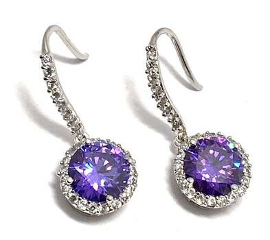 Solid .925 Sterling Silver, 6.0ctw Amethyst & 0.15ctw White Diamoniqiue Earrings