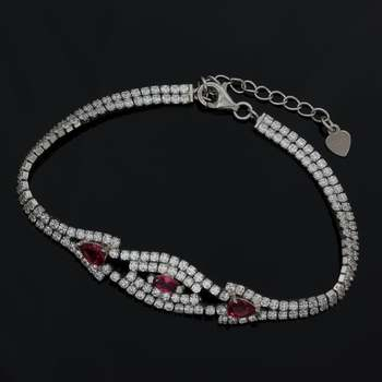 Solid .925 Sterling Silver, 6.1ctw Genuine Pink Rhodolite & White Sapphire Bracelet
