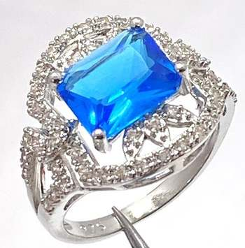 Solid .925 Sterling Silver, 6.25ctw Blue Tourmaline & 0.75ctw White Diamonique Ring Size 7