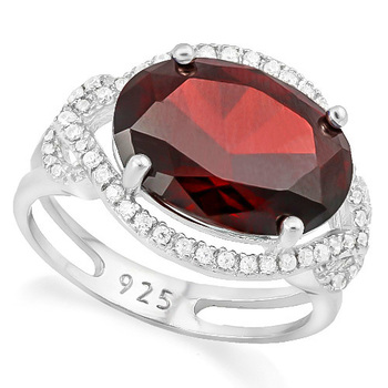 Solid .925 Sterling Silver, 6.35ctw Garnet & White Sapphire Ring sz 6