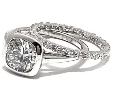 Solid .925 Sterling Silver, 6.50ctw White Diamonique Bridal Engagement Wedding Ring Set Size 7