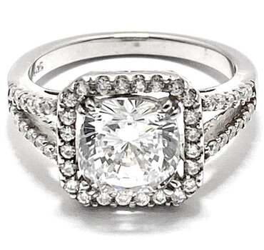 Solid .925 Sterling Silver, 6.75ctw White Diamonique Engagement Ring Size 8