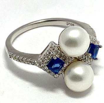 Solid .925 Sterling Silver, 6mm Fresh Water Pearl & 0.45ctw Sapphire Ring Size 6.5