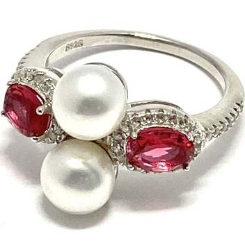 Solid .925 Sterling Silver, 6mm Fresh Water Pearl & 0.80ctw Tourmaline & White Topaz Ring Size 6.5