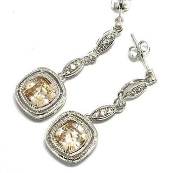 Solid .925 Sterling Silver, 7.0ctw Champagne Topaz & 0.12ctw White Diamoniqiue Earrings