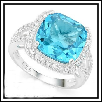 Solid .925 Sterling Silver 7.30ct Blue Topaz and White Sapphire Ring Silze 8.5