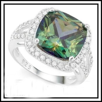 Solid .925 Sterling Silver 7.30ct Green Mystic Topaz and White Sapphire Ring Size 8