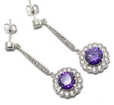 Solid .925 Sterling Silver, 7.50ctw Amethyst & 0.25ctw White Diamoniqiue Earrings