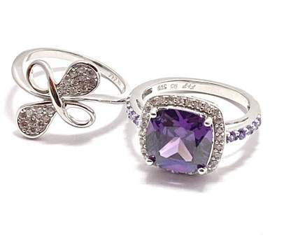 Solid .925 Sterling Silver, 7.50ctw Amethyst & 0.35ctw White Diamonique Lot of 2 Rings Size 7