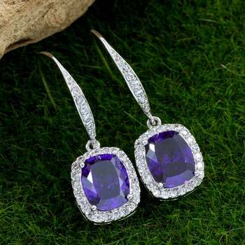 Solid .925 Sterling Silver, 7.50ctw Amethyst & White Topaz Earrings